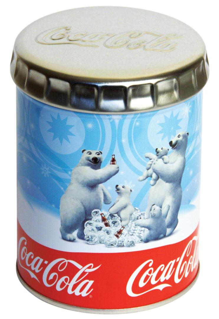 Coca Cola - 99 çapx130 h. - Metal Teneke Kutu - Yuvarlak - Promosyon