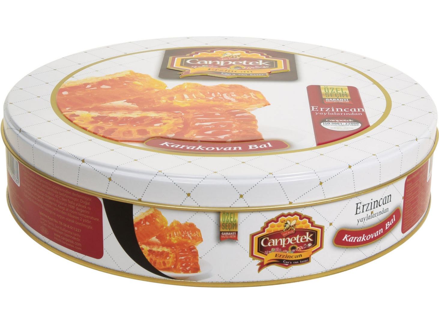 Canpetek - 230 çapx50 h. - Metal Teneke Kutu - Yuvarlak - Gıda – Bal