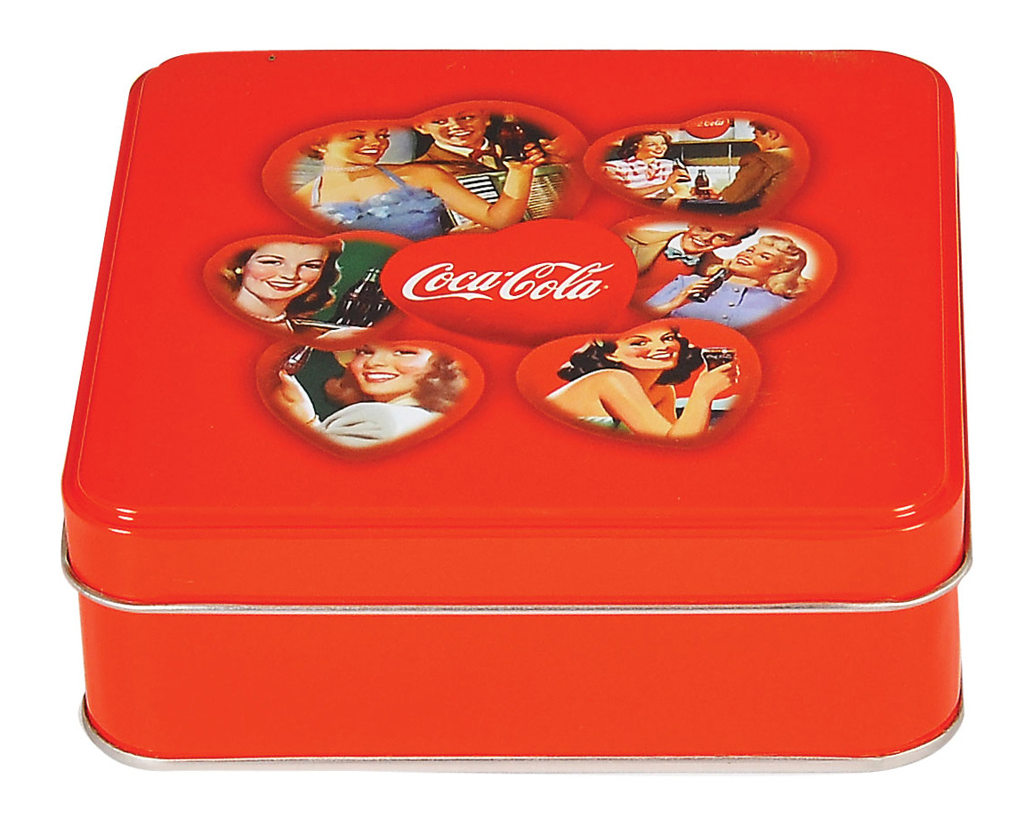 Coca Cola - 120x120x40 h. - Metal Box - Square - Promotion